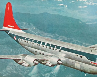 Outstanding 1950's Northwest Orient Airlines Stratocruiser Postcard - Free Shipping
