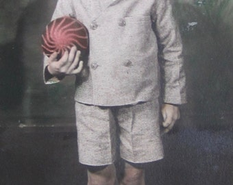 Adorable 1934 Little Boy and His New Ball Hand Colored Real Photo Postcard - Free Shipping