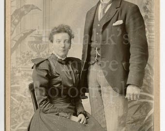 Cabinet Card Photo Victorian Young Couple, Smart Suit, Pretty Puffed Sleeved Dress Portrait - Chas Faulkner's Finsbury Park England  Antique