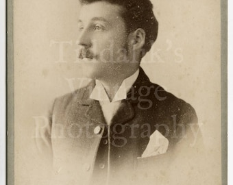 Cabinet Card Photo - Profile Young Victorian Man with Mustache - Grimmett of Banbury England