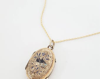 Antique Victorian Gold Fill, Enamel Taille D'epargne Envelope and Floral Locket