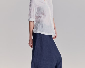 NEW / Ink Blue Linen Pants/ Extravagant Drop Crotch Pants/ Loose Linen Trousers/ Stylish Harem Pants by AryaSense / PLN16IBU