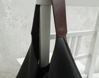 Leather Hobo Bag Black and Brown/Large Hobo Bag Black/Big Hobo Bag/Slouch Hobo Bag