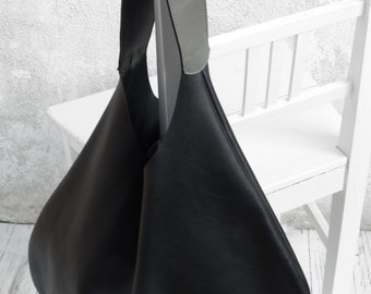 Black Hobo Bag Grey Handle/Shoulder Leather Hobo Bag/Large Leather Hobo Bag/Big Leather Hobo Bag/Slouch Bag/Ready to ship