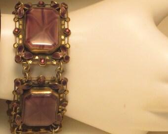 Chunky vintage antique Art Deco era Neiger Czech Amethyst cats eye art glass crystal enamel filigree panel bracelet
