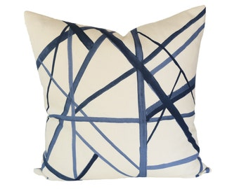 Kelly Wearstler Channels Periwinkle / Oat designer pillow cover - Made to Order - Choose Your Size