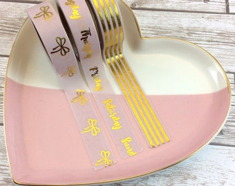 """Light Pink Washi with Gold Foil // Set of 3 // Full Rolls or 24"""" Samples // W3"""