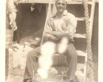 WWII Navy Sailor Boy ~  Vintage Snapshot Photo