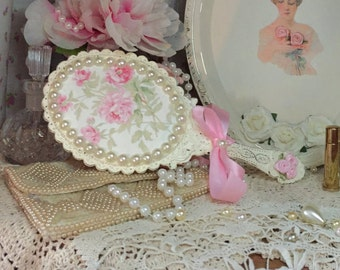 Shabby Chic Boudoir Decorative Vanity Hand Mirror Frame Ivory Pink Satin Ribbon Rose Floral Decoupage Pearls Rosettes Victorian Inspired