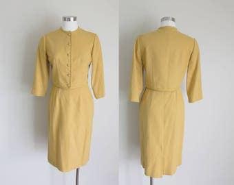 1960s Wool Dress Suit | Mod Dress Suit | Mad Men Dress Suit | Mustard Yellow Dress Suit | Mr. Simon | Small