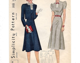 1930s Simplicity #3103, Misses' Dress and Jacket, Vestee Jacket, Unprinted Sewing Pattern, Size 16 Bust 34