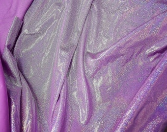 Solid Lilac Holographic Spandex Fabric Decora Fairy Kei Sparkly Purple Pastel Pink Kawaii Unicorn Lavender Princess Baby Cute (By the Yard)