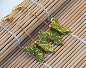 Paper jewelry butterfly earrings origami nature jewelry natural jewelry set bamboo green gold long earrings Oriental dangle earrings