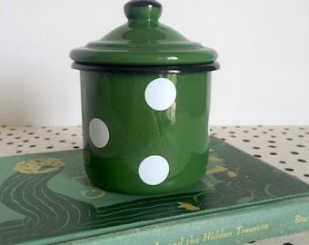 Vintage Polka Dot Enamelware Container, Polka Dot Jar, Green Enamelware, Polka Dot Container, Enamelware Jar with Lid
