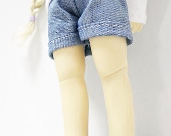 bjd yosd 1/6 doll clothes, shorts solid blue