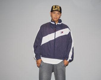 90s Vintage 1990s Tommy Hilfiger Men's Colorblock Hip Hop Rap Rapper Coat Jacket - Vintage Tommy  - Nineties Hillfiger Jackets  - M00023