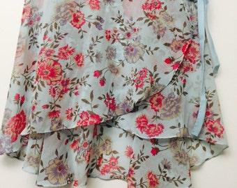 Light blue and pink ballet wrap skirt - Long