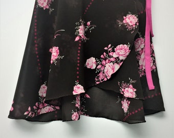 Pink and Brown Floral Ballet Wrap Skirt-  Short