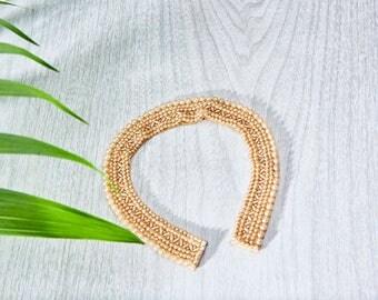 Vintage Beaded Collar - Pearl Beaded Satin Choker - Beaded Removable Collar - Vintage Jewelry - Peter Pan Collar - Detachable Collar