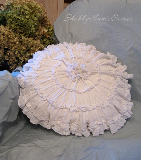 Shabby Chic Pillows White : Shabby Chic pillow White Ruffle Round pillow cover French