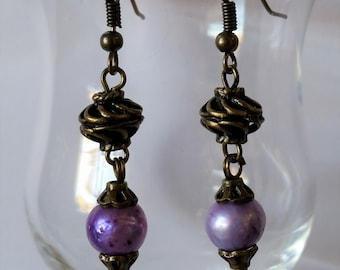 Antique Bronze and Purple Freshwater Pearl Earrings