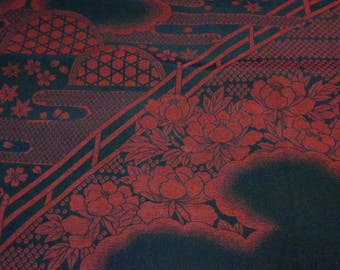 peony and bridge/ Vintage Japanese Silk Kimono fabric