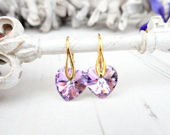Light purple heart Swarovski crystal earrings Vitrail light jewellery Silver gold bridesmaids earrings Bridesmaids gift Small kids earrings