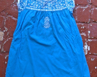 Child's Embroidered Blue Cotton Dress