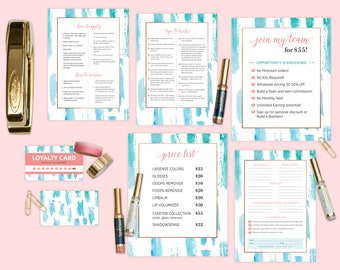 LipSense Marketing Material Set - Coral + Turquoise Swoosh Pattern  (7 items)