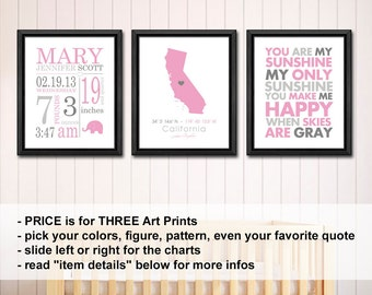 baby girl decor with stats, personalized baby decor, birth announcement girl, baby girl room decor, baby birth stats, baby nursery prints