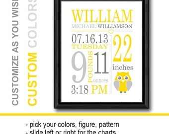 birth announcement wall art, owl birth stats print, birth date print, yellow gray baby room art, baby gifts, baby room decor, birth print