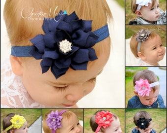 Baby headbands, flower headbands, 10 colors, navy blue flower headband, infant headbands, pink white yellow purple coral black, 1st birthday