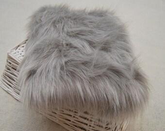 Faux Fur Prop; Silver Gray Faux Fur; Newborn Posing Fur; Newborn Posing Fabric; Basket Stuffer; Photography Prop
