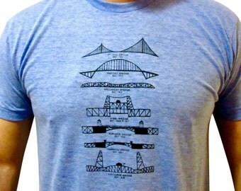 Portland Bridges shirt. Hand drawn. American Apparel. Portland Oregon shirt.