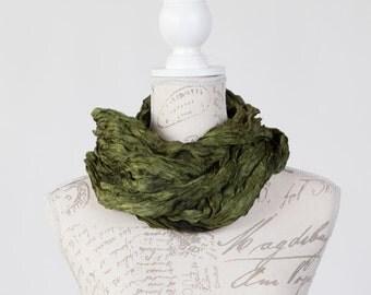boho Khaki scarf / khaki green wrinkled silk scarf for women /  ruffled Khaki green silk scarf / Silk scarf for wife   /  Crinkle silk scarf