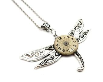 Edwardian Steampunk Dragonfly Pendant - Silver Dragonfly Necklace - Clockwork Insect Pendant - Steampunk Inspired - Halloween Gift Idea