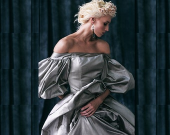 GANNA / steel gray wedding dress trendy wedding gown fashionable exclusive wedding dress bridal gown by couture amazing wedding gown