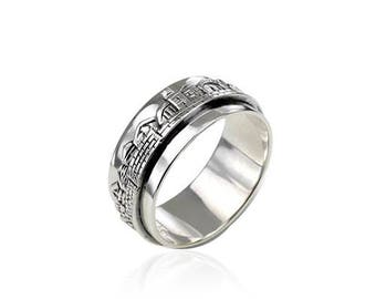 Stunning Sterling Silver Judaica Mens Ring Handmade Old City Jerusalem Skyline Band