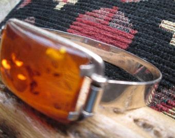Amber and Sterling Silver Hook Bracelet