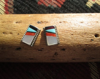 Zuni Style Multi-Stone and Sterling inlay Post Earrings