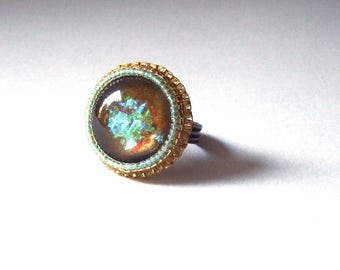 Bead Embroidery Ring, Yellow and Mint Green Seed Beads Ring, Adjutable Ring Antique Brass Ring, Beaded Statement Ring