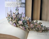 COUNTRY GARDEN  Flower Garden Hand Painted Tiara Butterflies Dragonflies Fairytale Wedding Crown Bridal Tiara