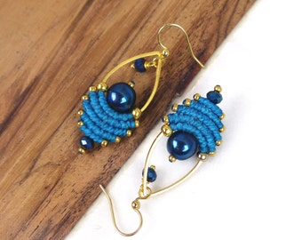 Woven macrame earrings - Dark turquoise midnight blue and gold - Drop shape - Miyuki delica seed beads - Boho chic jewelry - Gift for her -