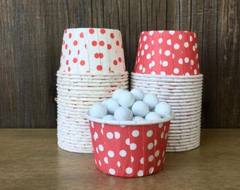 Red and White Paper Snack Cups - Set of 48 - Polka Dot Candy Cup - Birthday Party - Mini Ice Cream Cup - Paper Nut Cup - Same Day Shipping