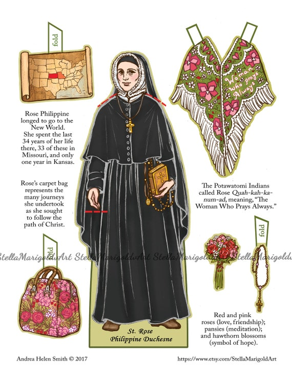 Saint Rose Philippine Duchesne Paper Doll Color And Bnw