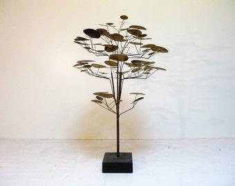 Huge Rare Midcentury C Jere Raindrop Tree Sculpture in brass