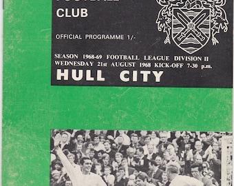 Vintage Football (soccer) Programme - Fulham v Hull City, 1968/69 season