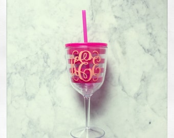 Personalized Acrylic Wine Glass with Lid & Straw {Pink Stripe}