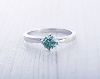 Green Sapphire solitaire ring available in Titanium or white gold - engagement ring - wedding ring
