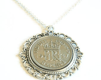 1947 Birthday Gift, Lucky Sixpence Necklace, 1947 Jewelry Gift, 70th Birthday Gift, 70th Birthday Ideas, 70th birthday gifts for women